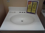 "25""x22"" Marble Vanity Top Oval Bowl - White"